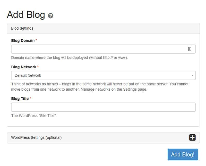 Easy Blog Network review - Add Blog
