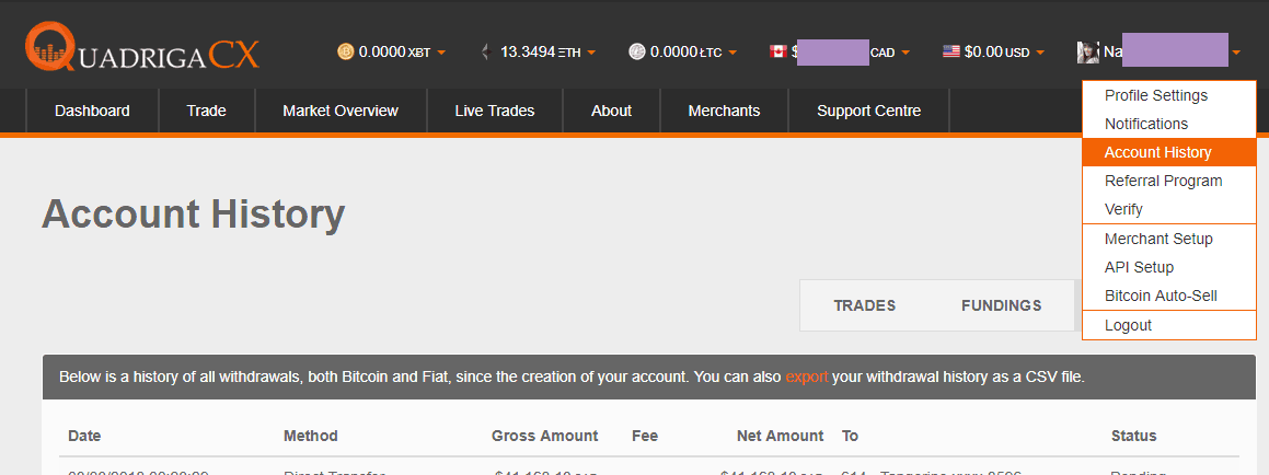 QuadrigaCX Review My First Ethereum Trade account history
