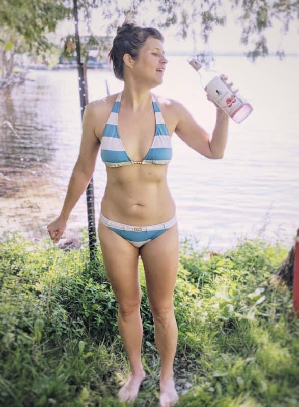 me drinking rose near a lake