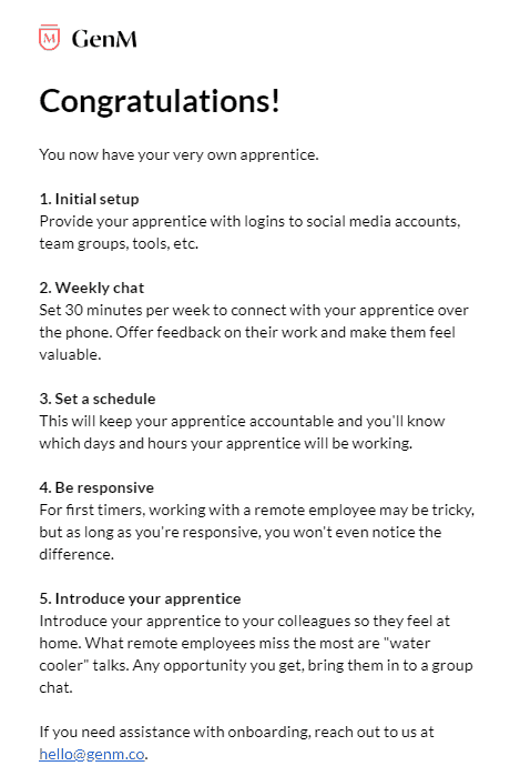 onboarding email