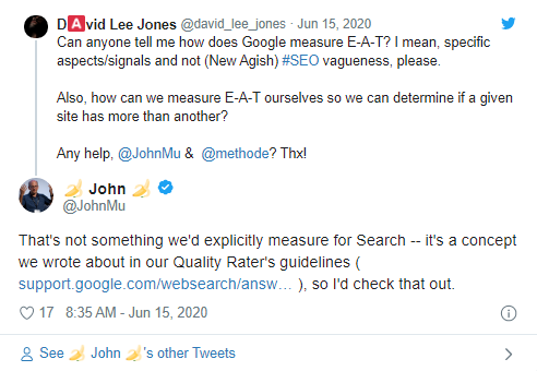 Twitter discussion on if Google does not measure EAT