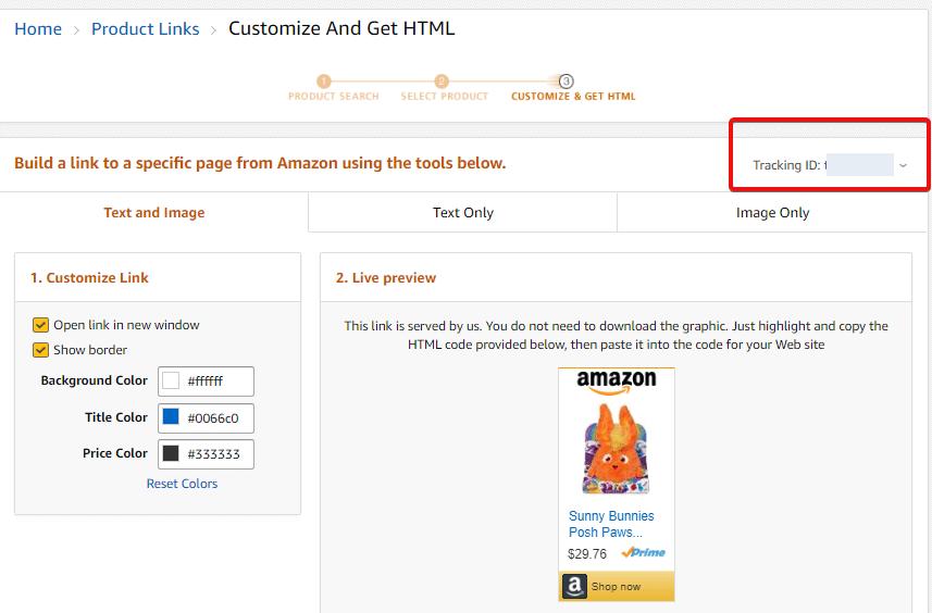 amazon link specify custom tracking id