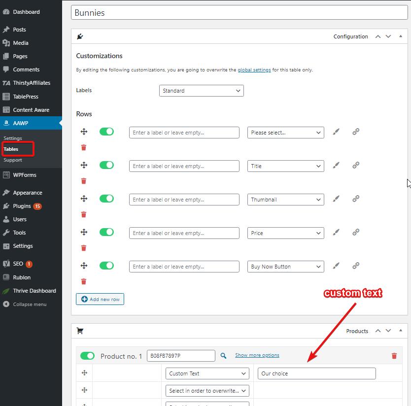 comparison table settings