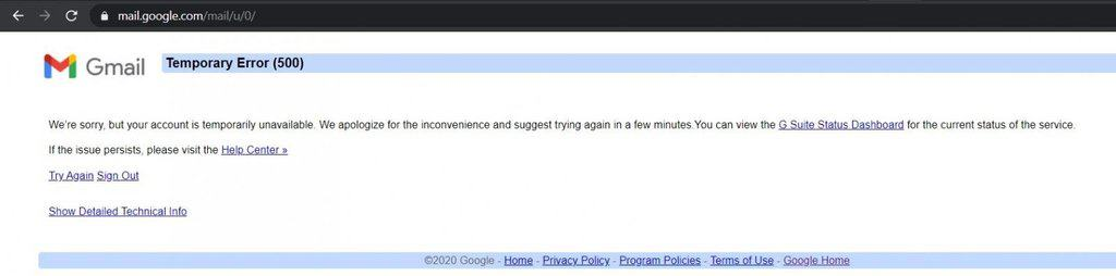 Gmail was down