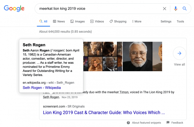 Google Search Results for meerkat lion king 2019 voice
